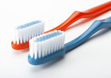 red and white toothbrush poster