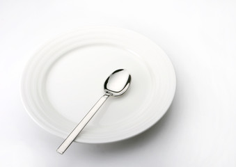 landscape shot of plate and spoon