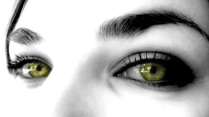 yeux jeune or de femme sexy maquillée