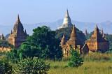 myanmar, bagan: panorama at the sundown poster