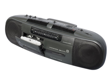 dual deck black boom box