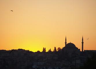 silueta de la mezquita de suleyman el magnifico