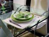 empty porcelain plate with knife, fork poster
