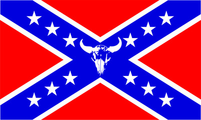 confederate flag with buffalo skull - vector illus