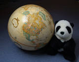 the world globe and a giant panda poster