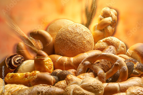 Fotobehang Brood group of different bread products photographed wit