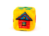 toy cube with house pattern poster