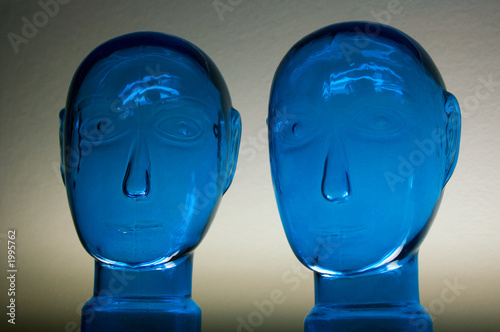 glass dark blue heads