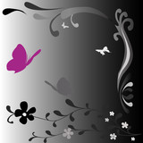 black and white fantasy design with butterflies poster