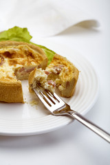 quiche on a fork
