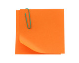 orange post-it notes with a bent corner on white poster