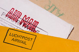 several envelopes with stamps close up poster