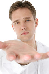 casual man reaching out