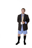 sexy guy in suit and boxer shorts poster