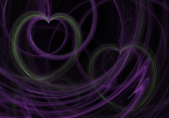 green hearts purple swirls