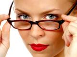 secretery removes her glasses poster