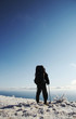 backpacker overview winter landscape
