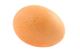 free-range egg with natural spots on pure white ba poster