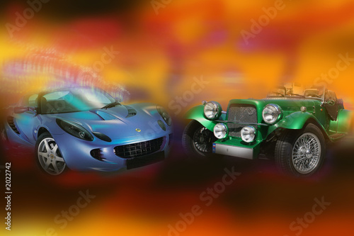 Foto op Canvas Snelle auto s new and old