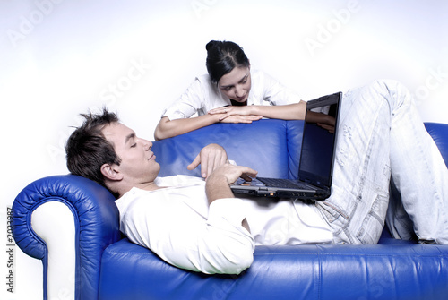 young couple with laptop