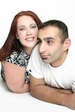 happy interracial couple poster