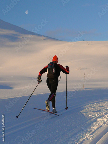 skier with moon in background