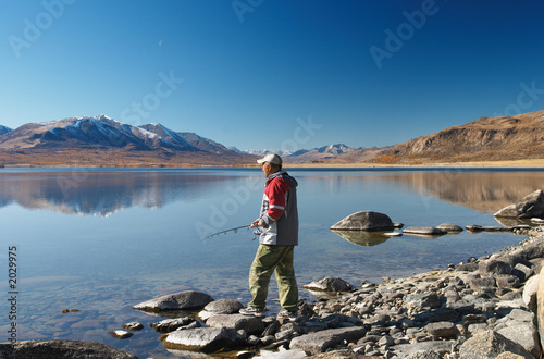 fishing on mountain lake