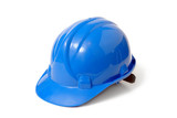 blue safety helmet poster