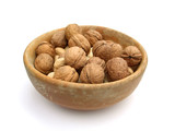 walnuts in a bowl, isolated on white poster