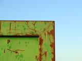 green metal barrier corner poster