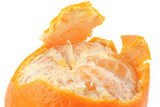macro of a peeled tangerine on pure white backgrou poster