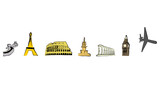 famous landmarks icons poster