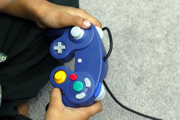 a kid playing a video game
