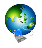 laptop connecting to the globe poster