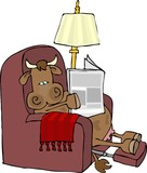 cow in an easy chair poster