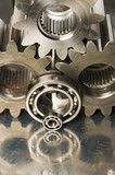 gears in sepia toning poster