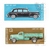 post stamps with cars from soviet union poster