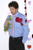 attractive man wearing blue shirt for valentines day poster