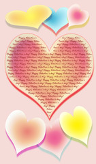 the stylized image of seven hearts on a pink background