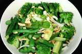 green vegetables with almonds 1 poster