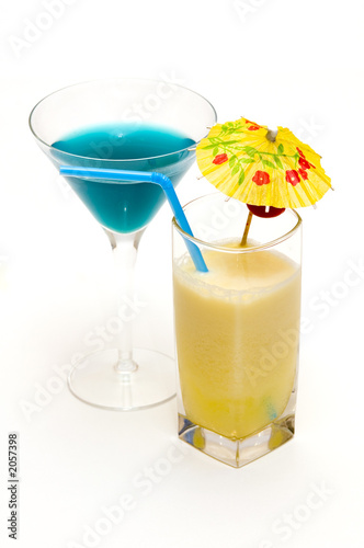 cocktails with blue curacao & pina colada
