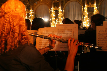 the flutist in an orchestra