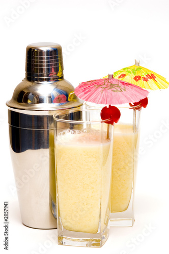 image photo : Pina colada cocktail with umbrella & shaker.
