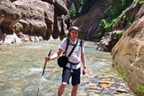 adventure hiker on river walk poster
