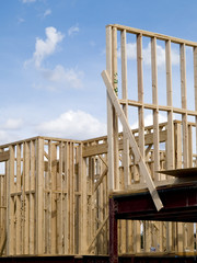 stock photo of wood frame housing construction