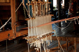 myanmar, inle lake: loom at the silk factory poster