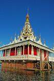 myanmar, inle lake: pagoda on the lake poster