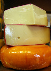 stacked chunks of cheese