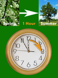 summertime period begins (daylight saving time) poster