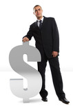 businessman leaning on dollar sign